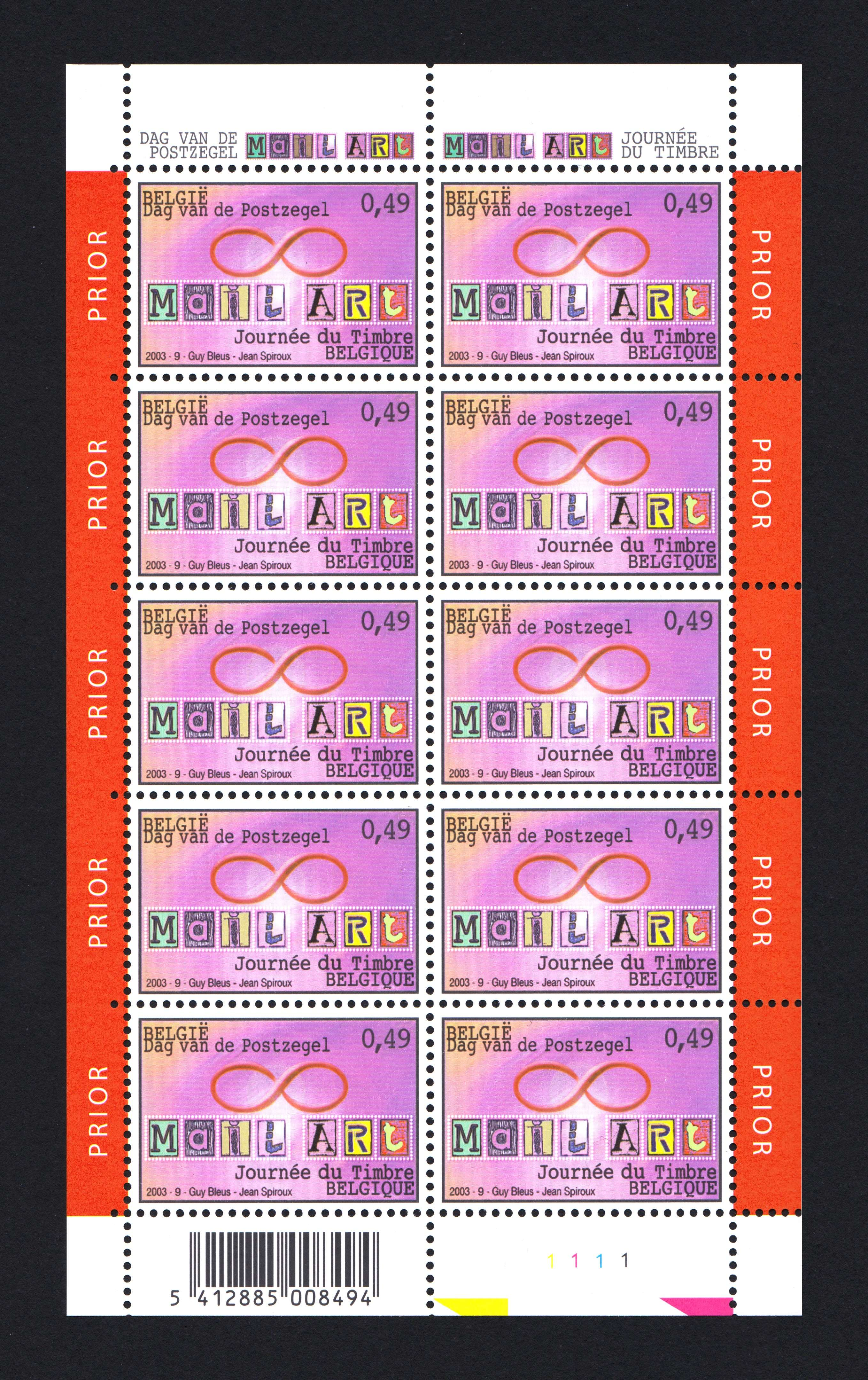 Mail Art Stamps by Guy Bleus Jean Spiroux 2003